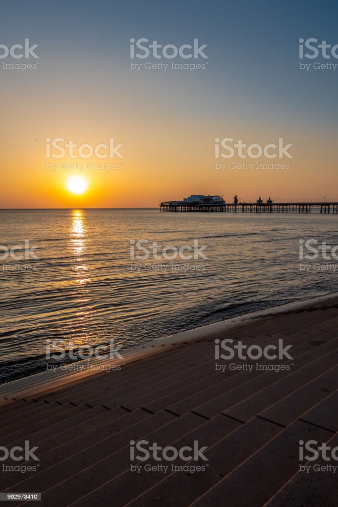 Sunset in Blackpool, Lancashire stock photo