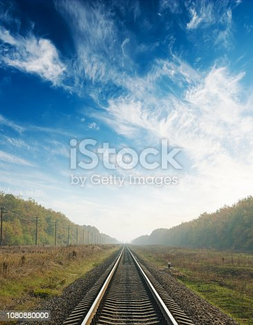 sunset in blue sky with clouds over railway to horizon