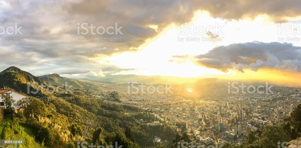 Sunset in Bogota, Colombia stock photo