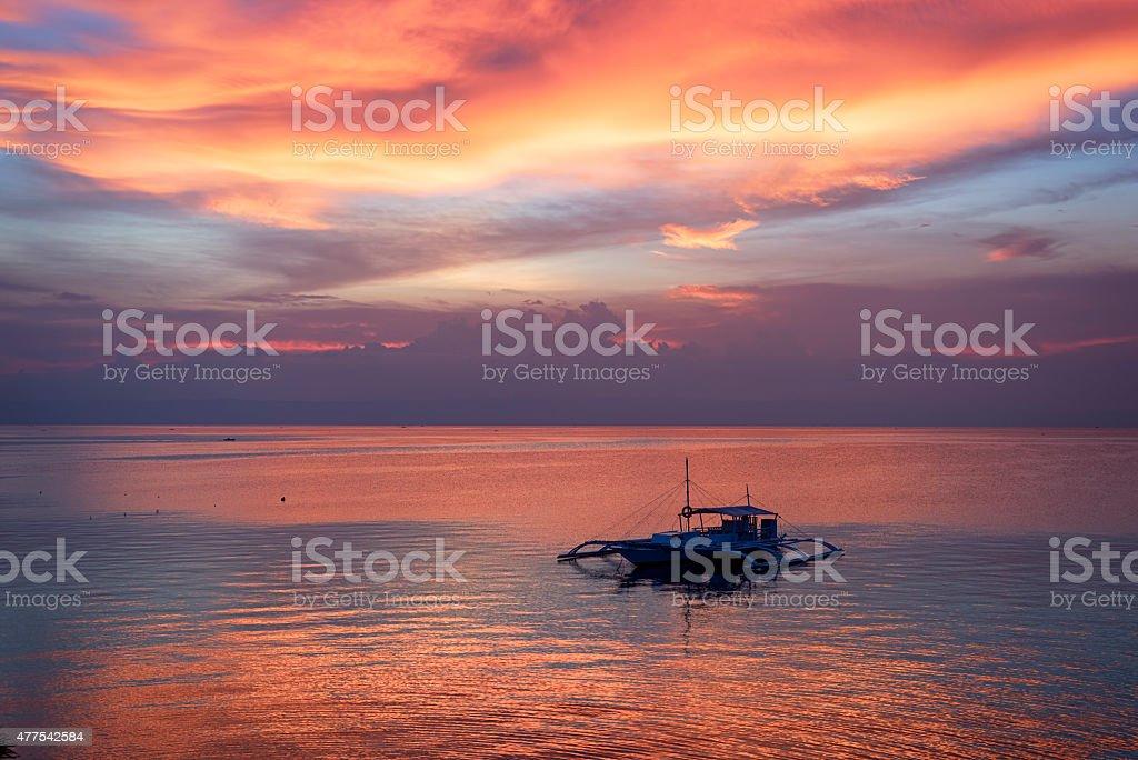 Sunset in Bohol, Philippines stock photo