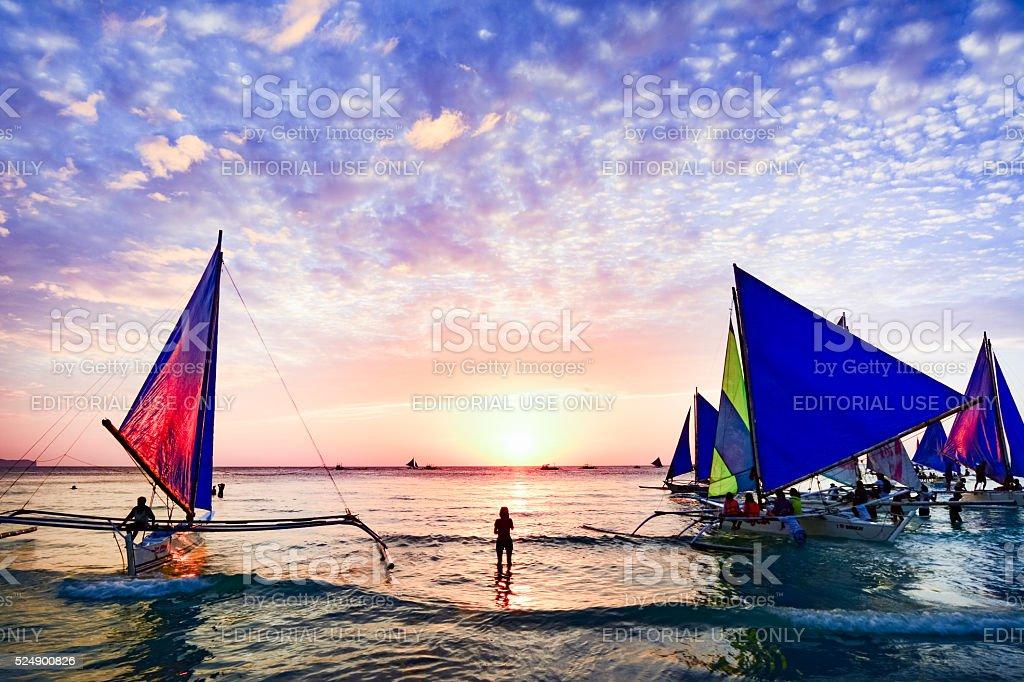 Sunset in Boracay, Philippines stock photo