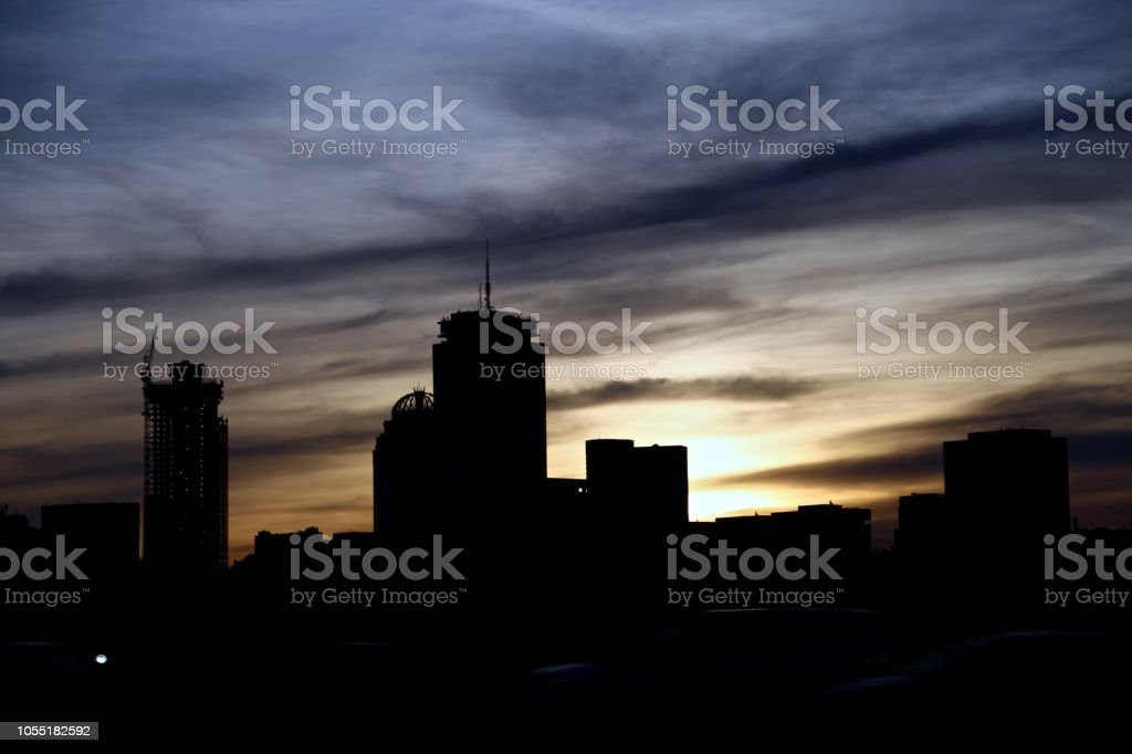 Sunset in Boston MA stock photo