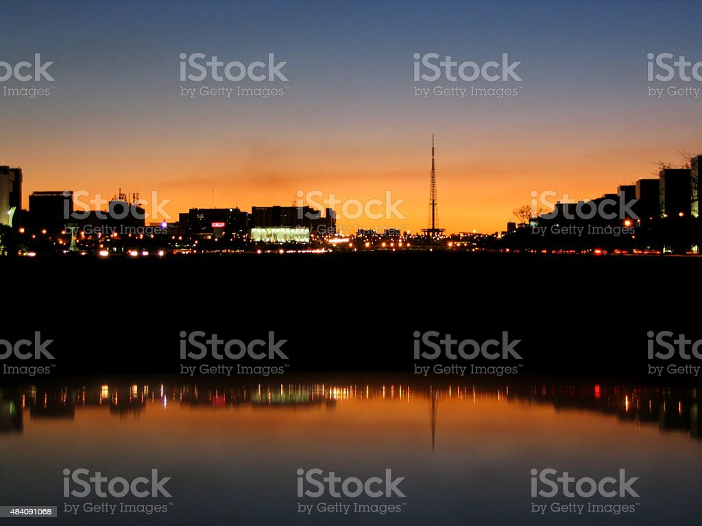 Pôr-do-sol em Brasília, Brasil foto royalty-free
