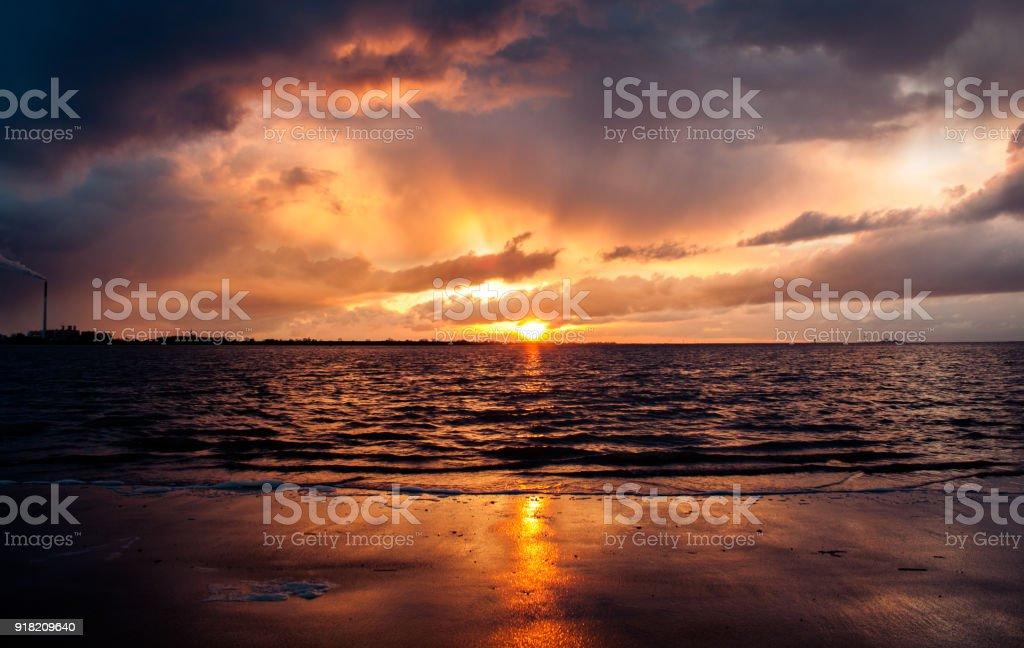 Sonnenuntergang in Bremerhaven, Deutschland – Foto