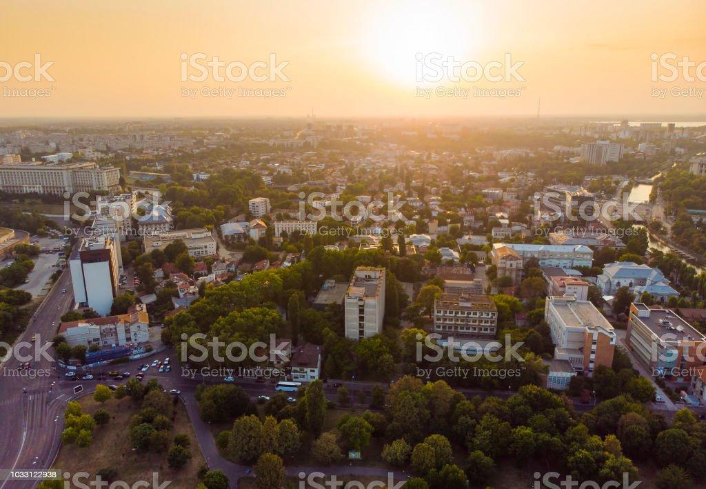 sunset in Bucharest city. stock photo