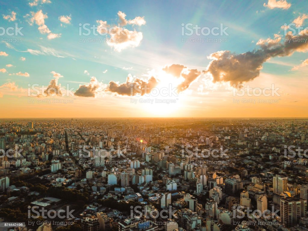 Sunset in Buenos Aires stock photo