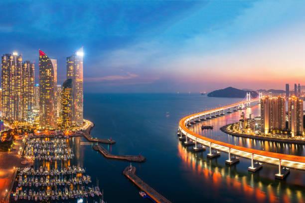 釜山市の建物の夕日 - 釜山 ストックフォトと画像