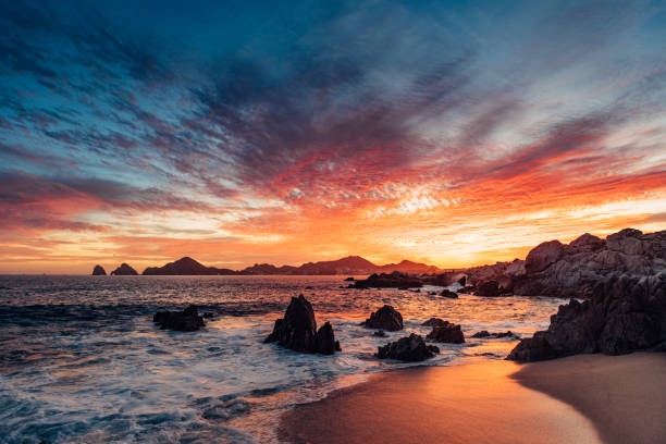 Sunset in Cabo San Lucas stock photo