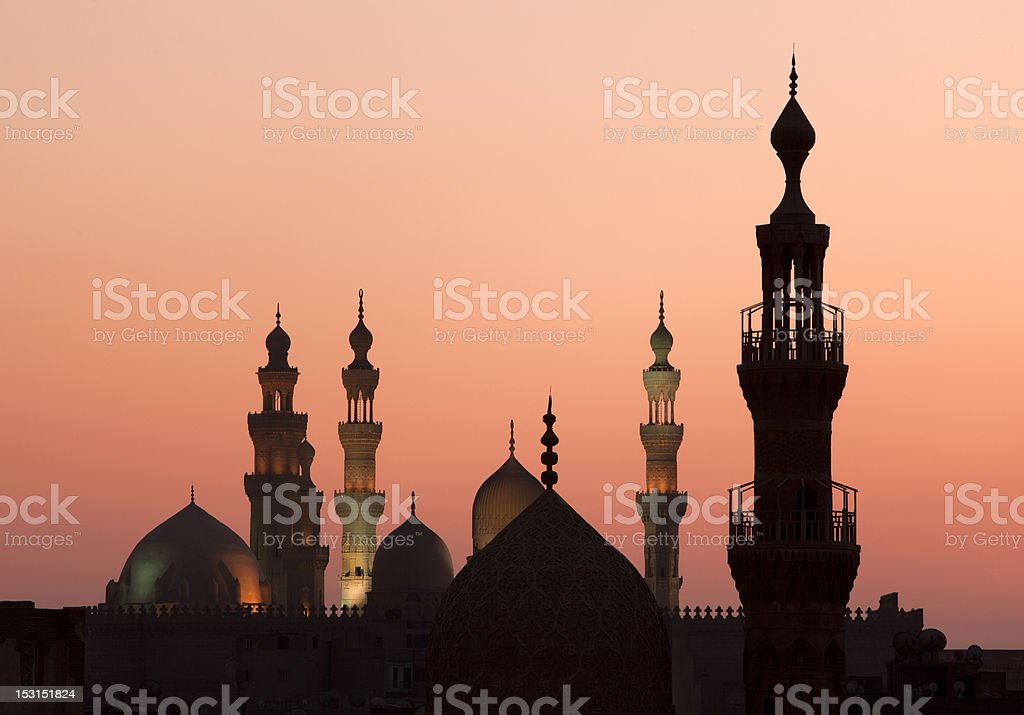 Sunset in Cairo with minarets royalty-free stock photo