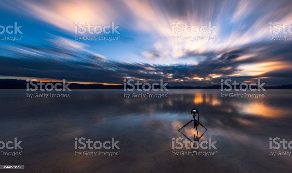 sunset in Caka Salt Lake stock photo