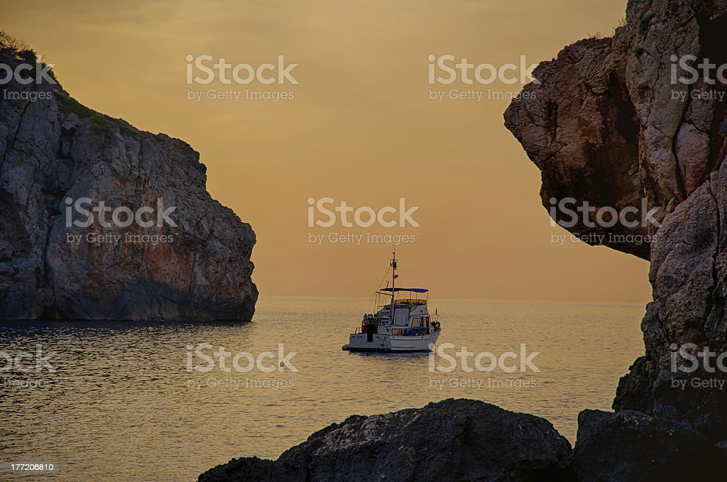 Sunset in Cala de Deia, Majorca stock photo