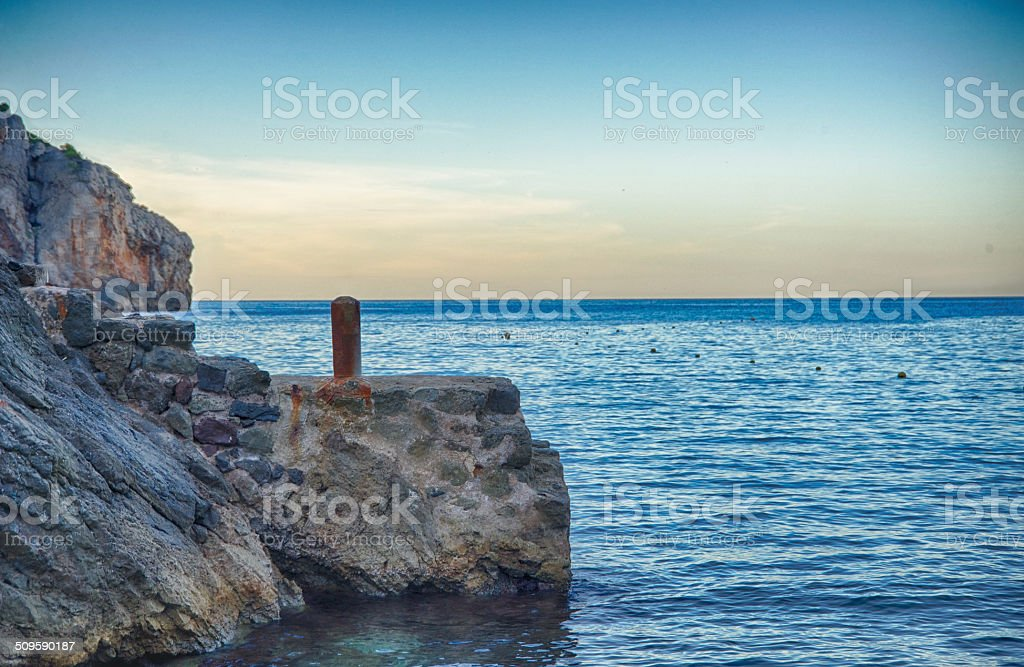 Sunset in Cala Deia, Majorca stock photo