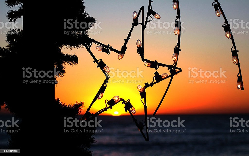 Sunset in California during Christmas with a star light royalty-free stock photo