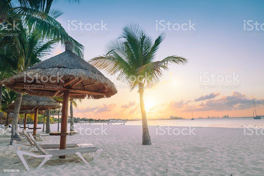 Sunset in Cancun stock photo