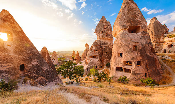 Sunset in Cappadocia, Turkey 스톡 사진