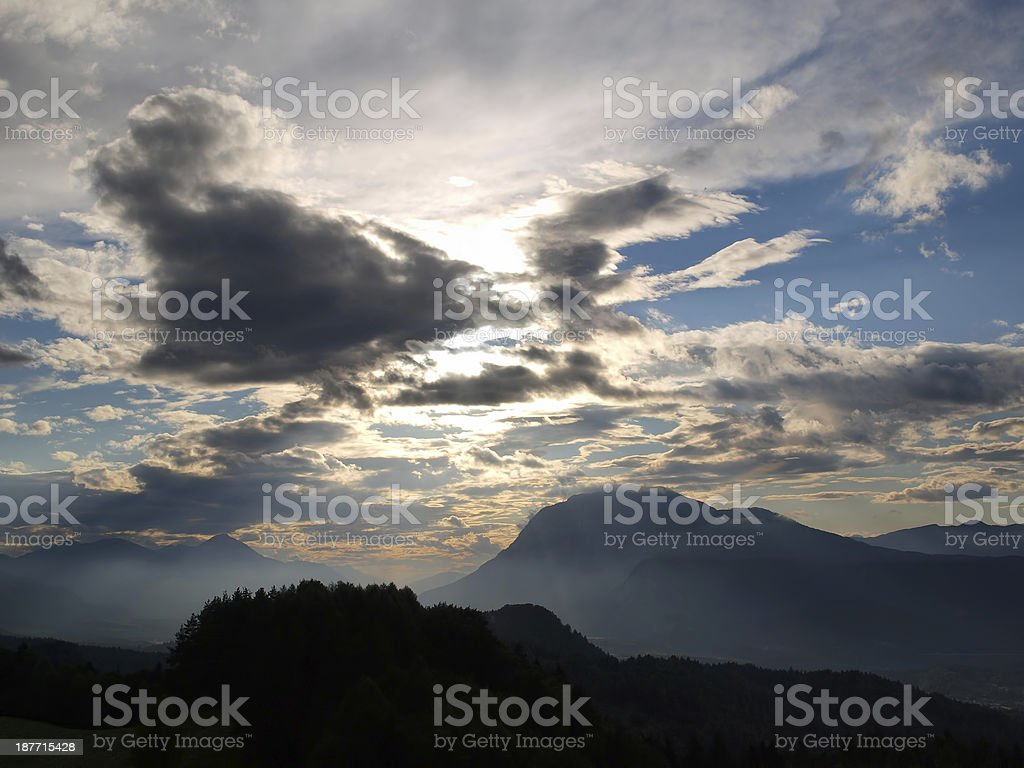 Sunset in Carinthia royalty-free stock photo