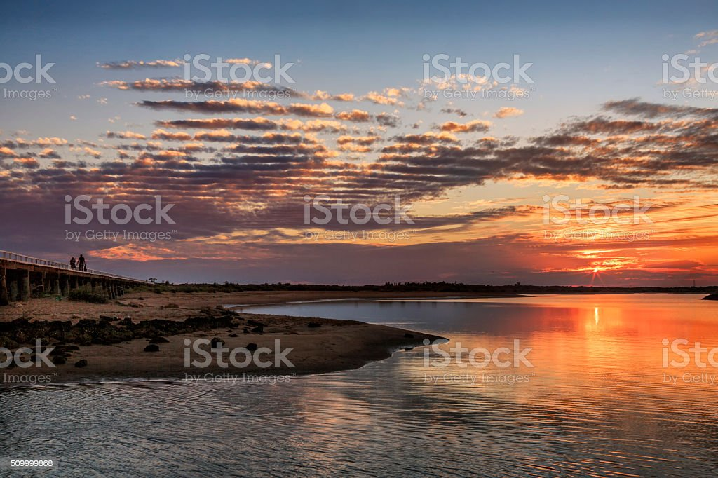 Sunset in Carnavon, Western Australia stock photo