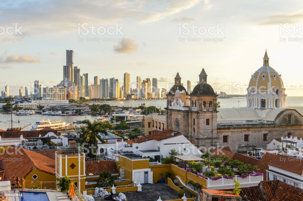 Sunset in Cartagena, Colombia stock photo
