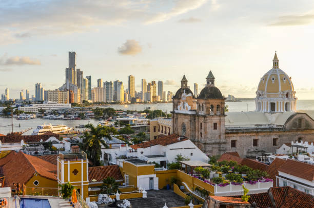 sunset in cartagena, colombia - colombia stock photos and pictures
