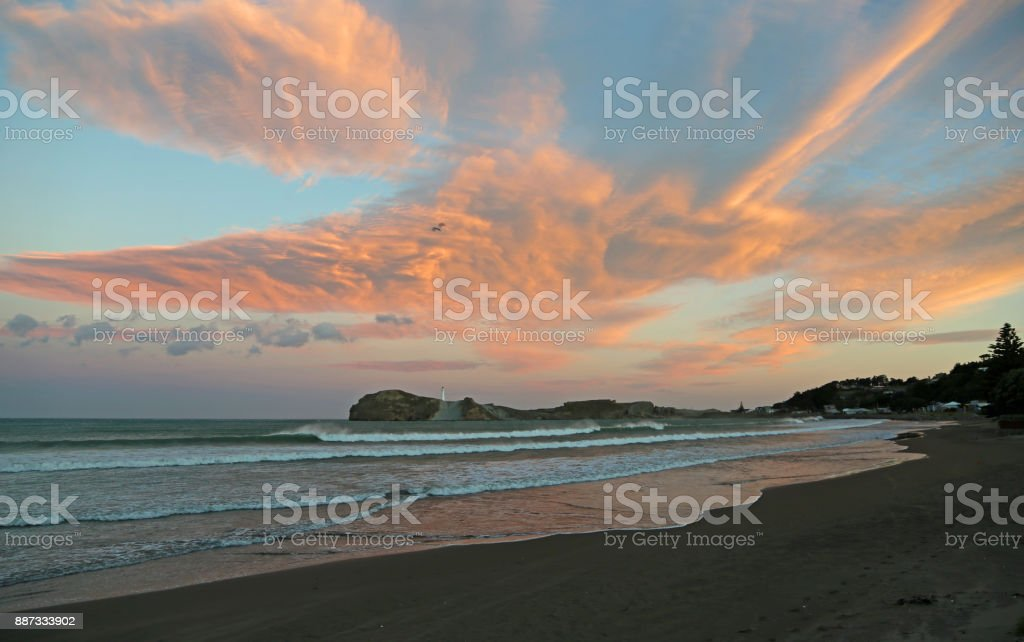 Sunset in Castlepoint stock photo