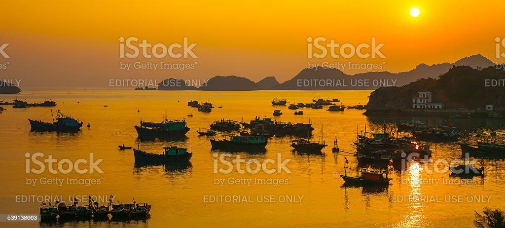 Sunset in Cat Ba Island, Vietnam stock photo
