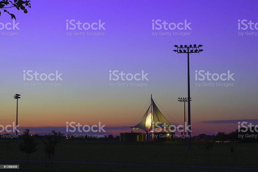 Sunset in Celebration Park stock photo