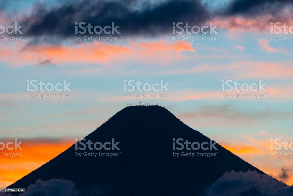 Sunset in Central America, Guatemala, Latin America, volcanoes and...