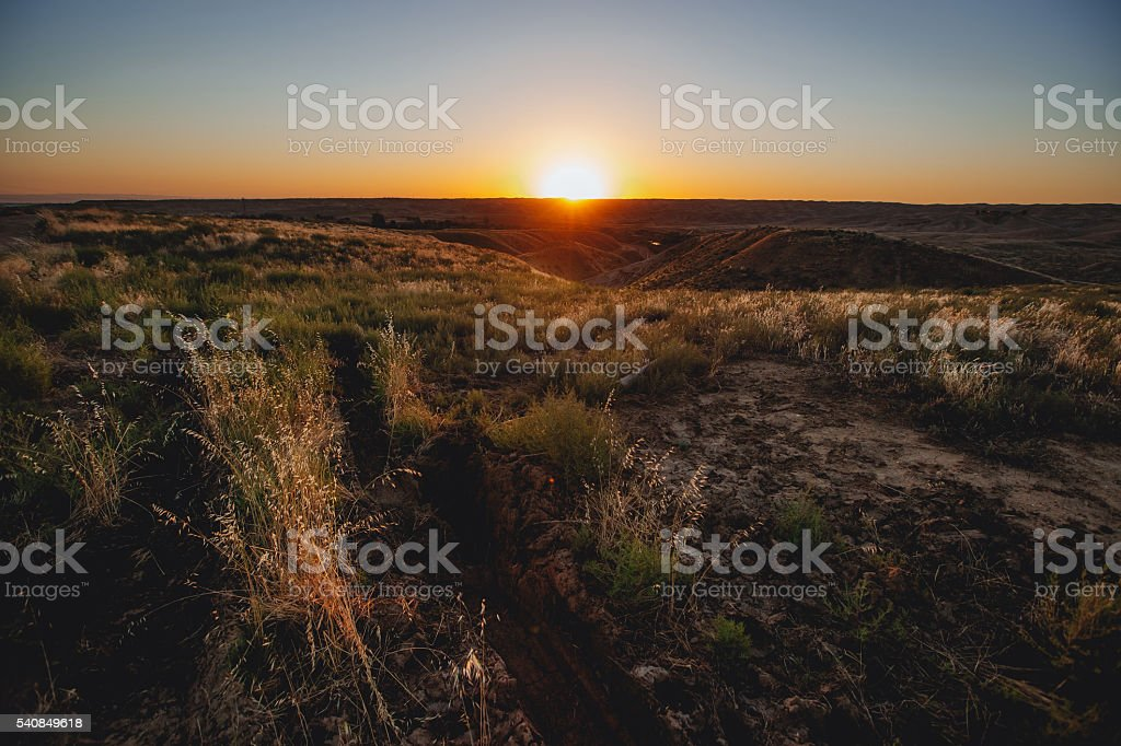 Sunset in Central Valley, California, USA stock photo
