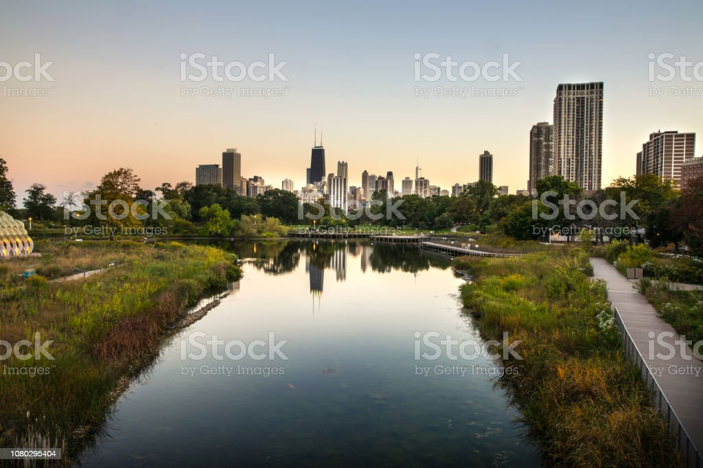 Sunset in Chicago - downtown district skyscrapers - skyline stock photo
