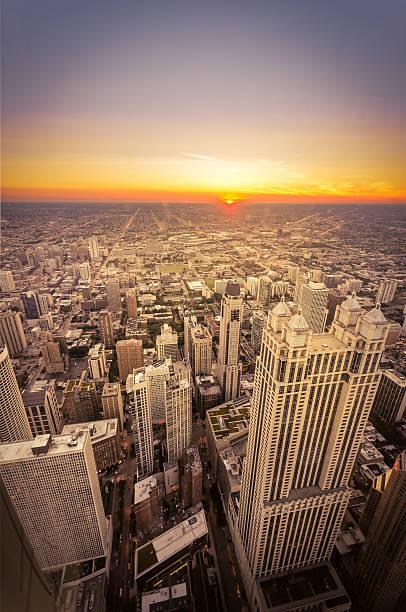 Sunset in Chicago, Illinois stock photo
