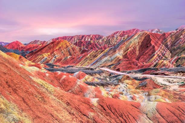 Sunset in China's rainbow mountain stock photo
