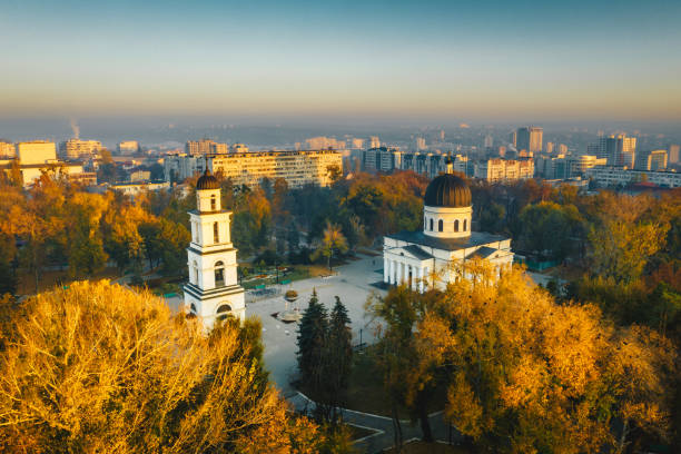 sunset in chisinau, republic of moldova. aerial photography - moldova stock pictures, royalty-free photos & images