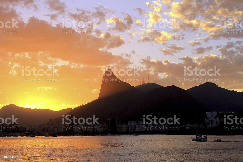 Sunset in Christ the redeemer stock photo