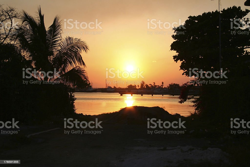 Sunset in Cienfuegos royalty-free stock photo