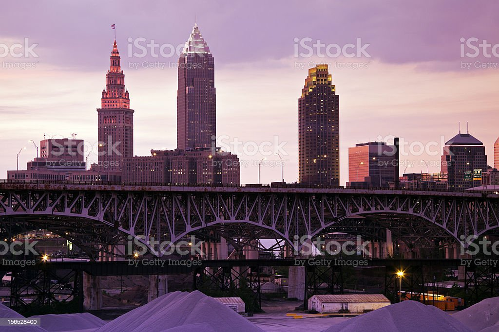 Sunset in Cleveland stock photo