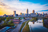 istock Sunset in Cleveland, United States 1203223084
