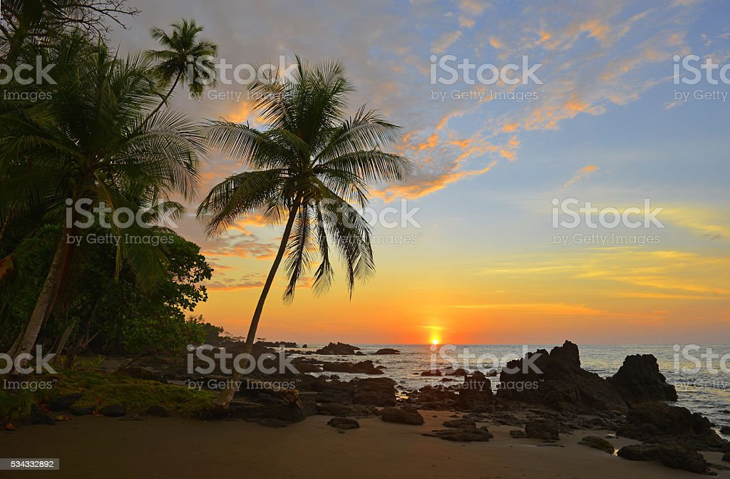 Sunset in Costa Rica stock photo
