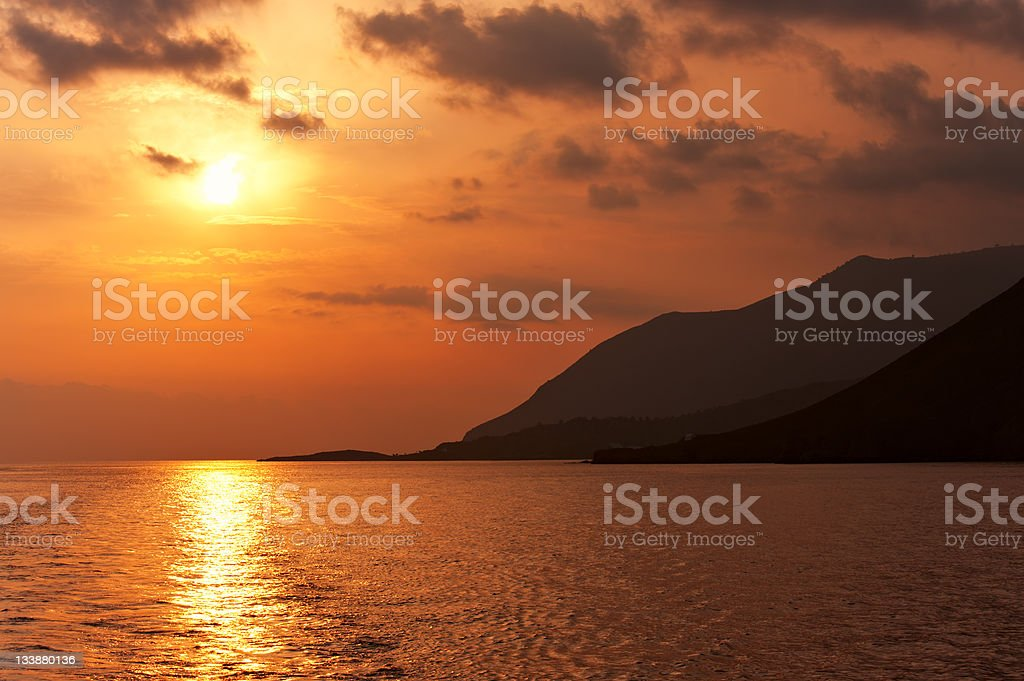 Sunset in Crete royalty-free stock photo