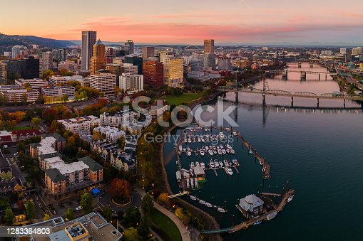 A beautiful fall sunset in Downtown Portland in the Pacific Northwest