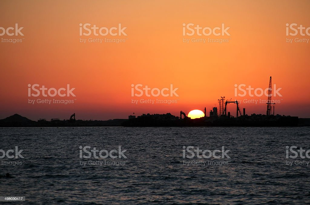 Sunset In Dubai Sunset And Oil Middle East Stock Photo