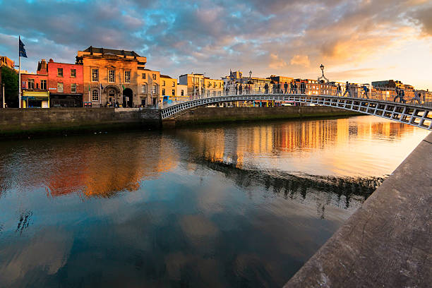 Sunset in Dublin, Ireland stock photo