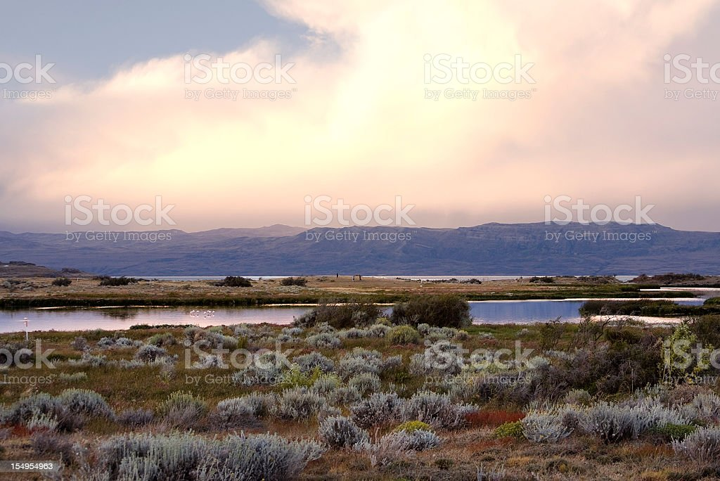 Sunset in El Calafate stock photo