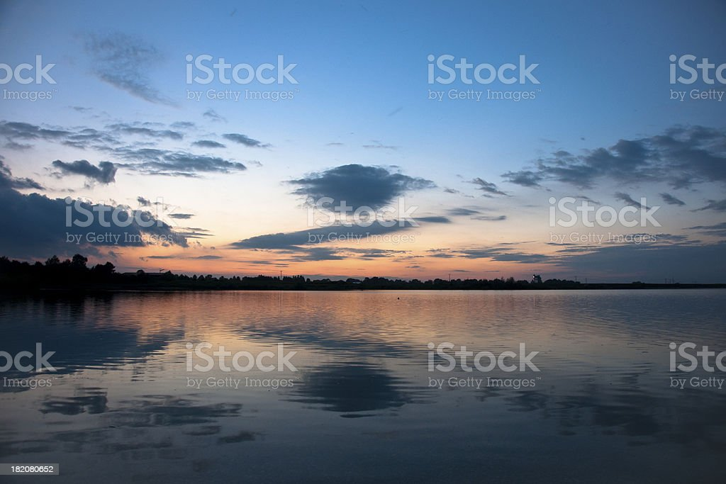 Sunset In Erding stock photo