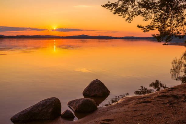 Sunset in Finland stock photo