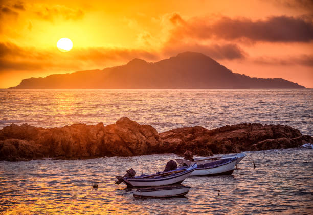 Sunset in Galicia with Cies Islands stock photo