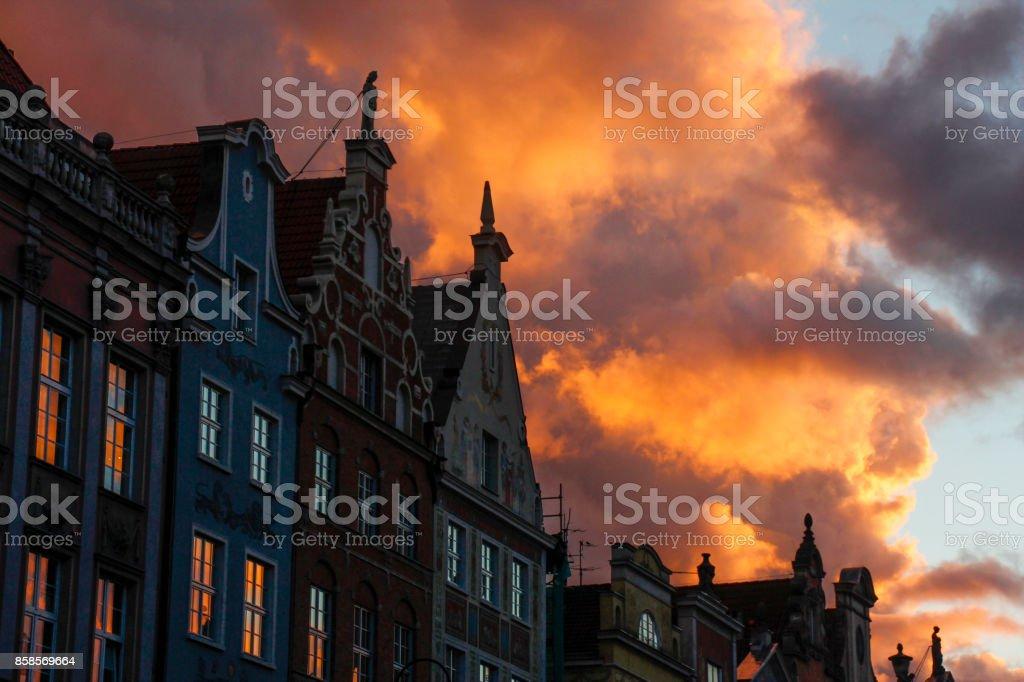 Sunset in Gdansk, Poland stock photo