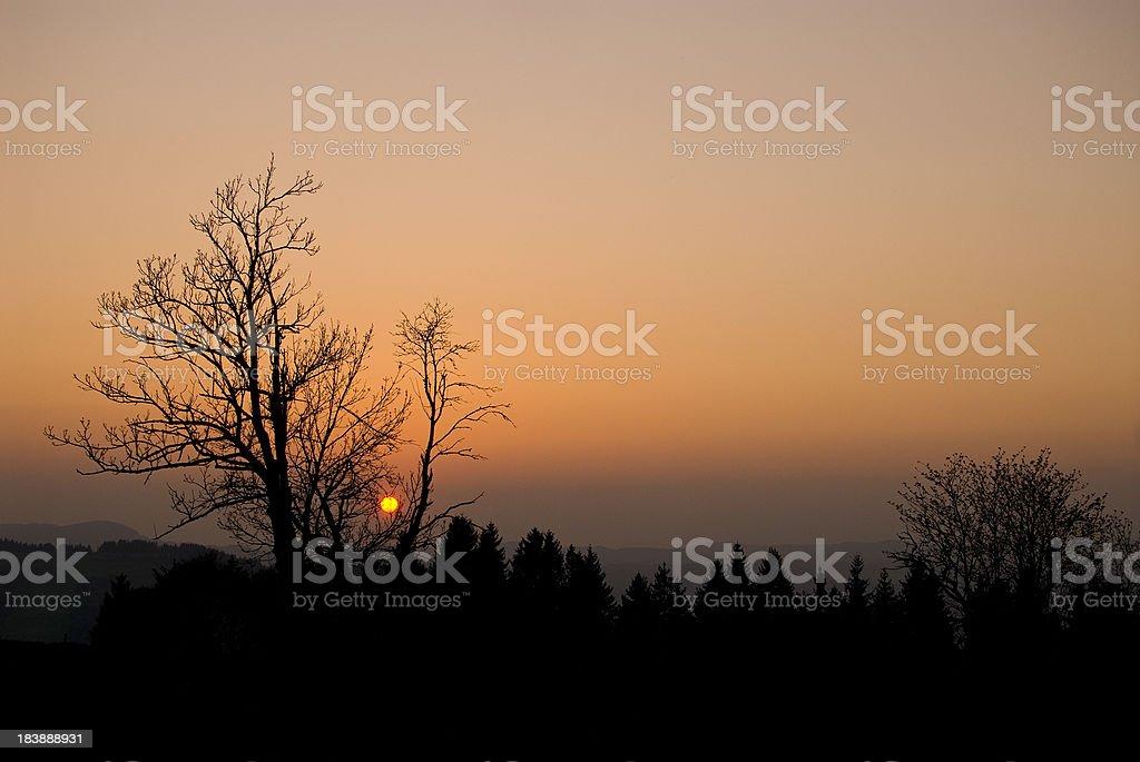 Sunset in Germany Orange Sun royalty-free stock photo