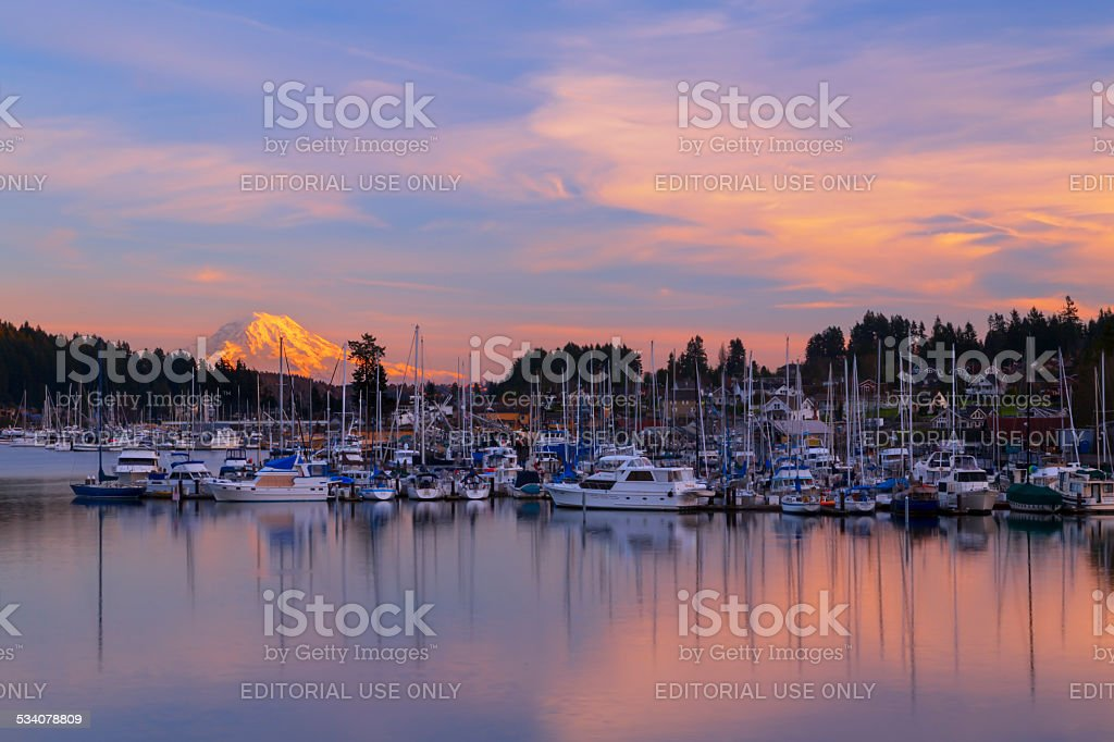 Sunset in Gig Harbor. Gig Harbor, WA USA - January, 20 2015. Gig Harbor is a tourism attraction on Puget Sound 2015 Stock Photo