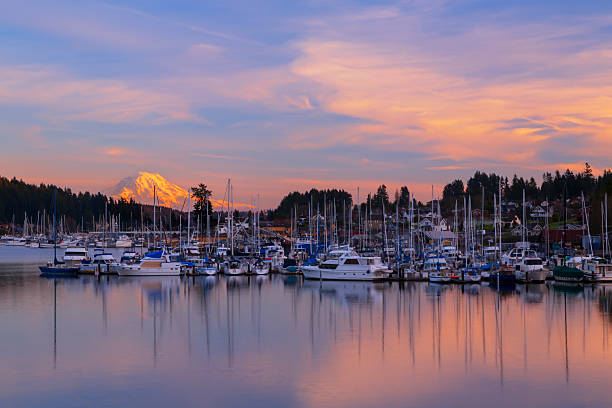 Sunset in Gig Harbor. Gig Harbor, WA USA - January, 20 2015. Gig Harbor is a tourism attraction on Puget Sound gig harbor stock pictures, royalty-free photos & images