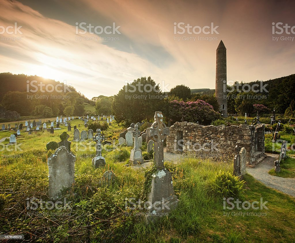 Sunset in Glendalough royalty-free stock photo